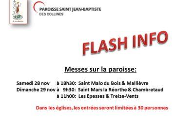 Messes des 28 et 29 novembre 2020 Paroisse St Jean Baptiste des collines