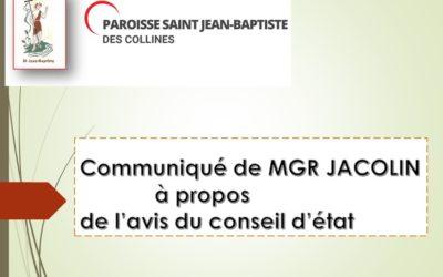 Communiqué de MGR JACOLIN à propos de l'avis du conseil d'état