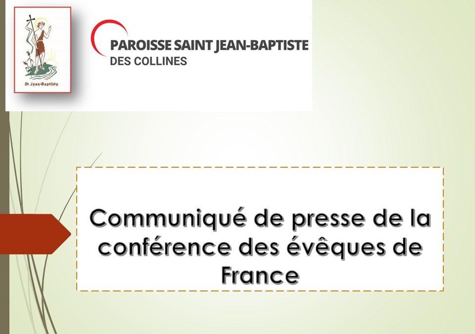 Communiqué de presse de la conférence des évêques de France