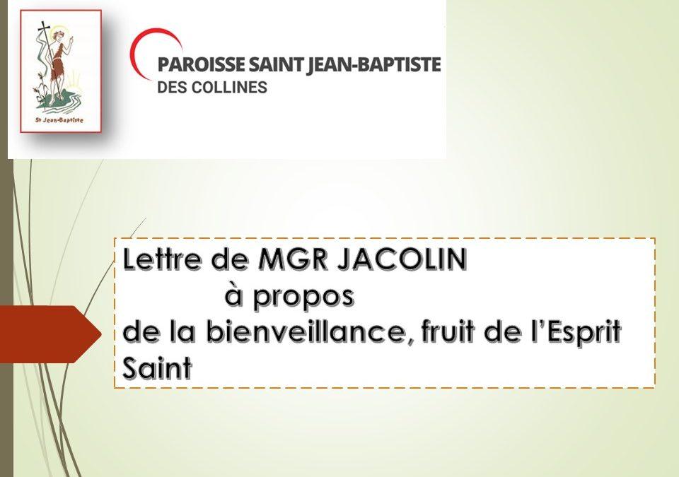Flash info Lettre de Monseigneur JACOLIN